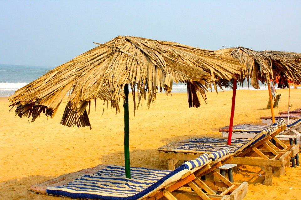 Calangute Goa India beach loungers sun