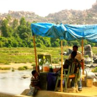 Hampi India barbershop river