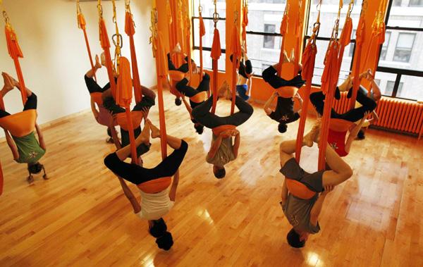 Iyengar yoga hanging pose