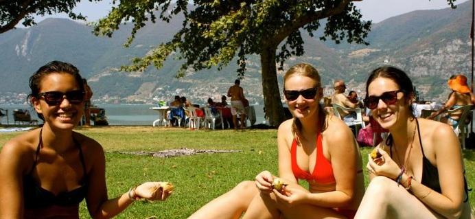 Iseo Italy sunbathing bikinis
