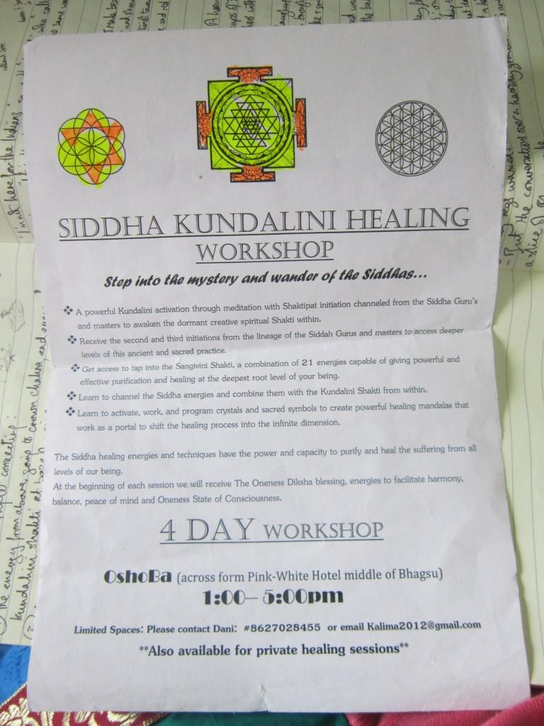 dharamkot bhagsu dharamsala mcleod ganj India healing crystal chakra workshop