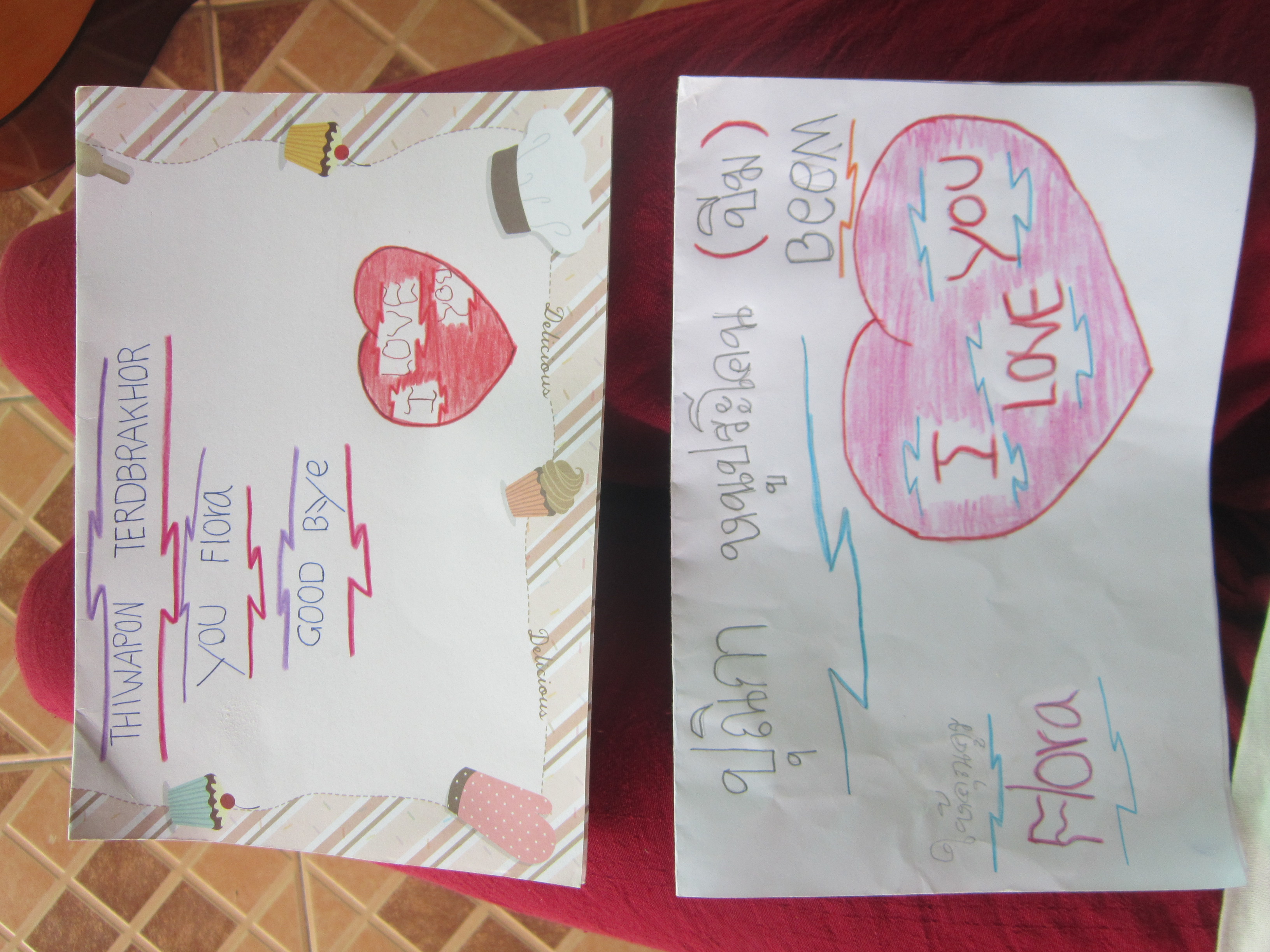 Goodbye cards from Thai school children in Nong Weang, Thailand