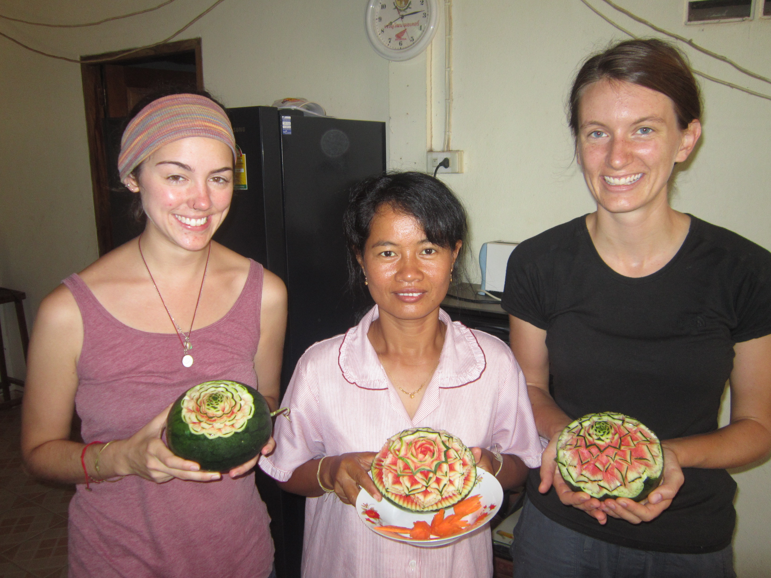 Carving watermelons in Nong Weang, Thailand.
