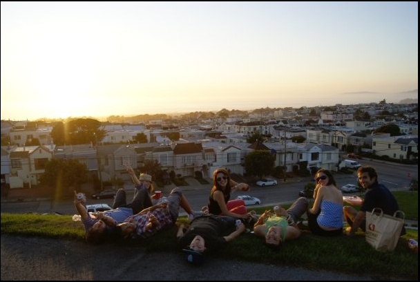 San Francisco USA sunset with friends