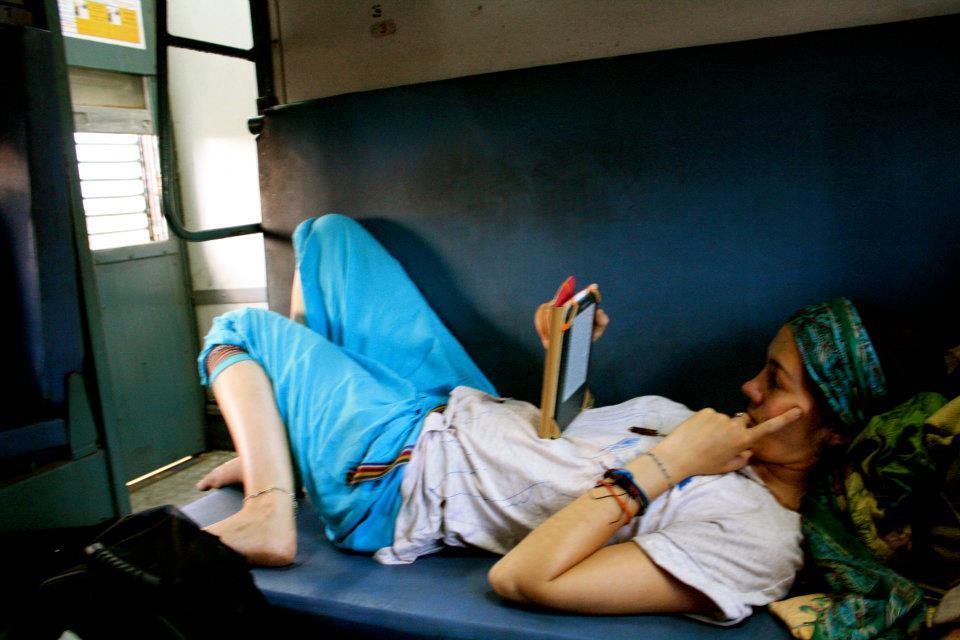 India train Westerner hippy