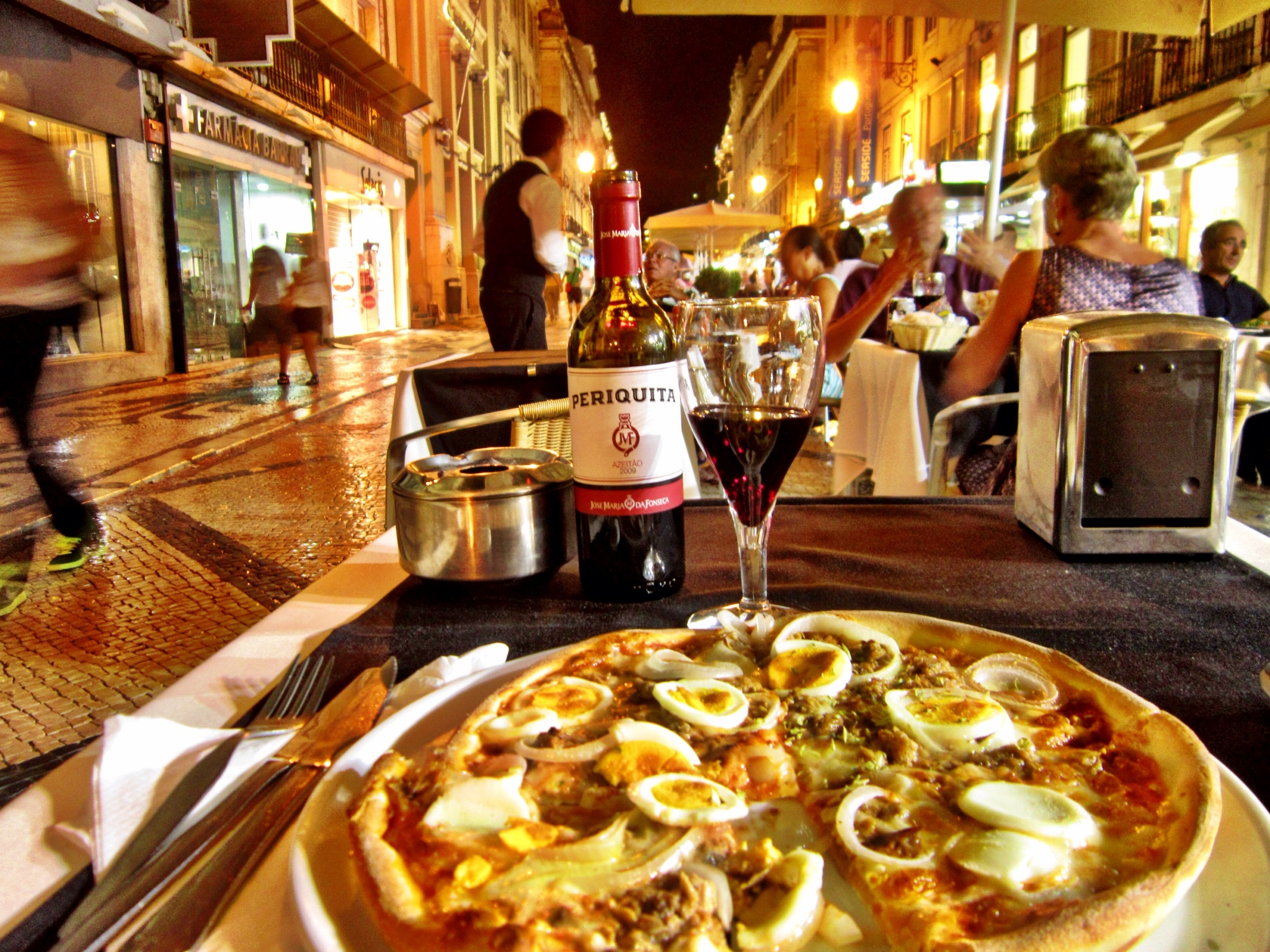 Lisbon Portugal dinner with pizza and red wine