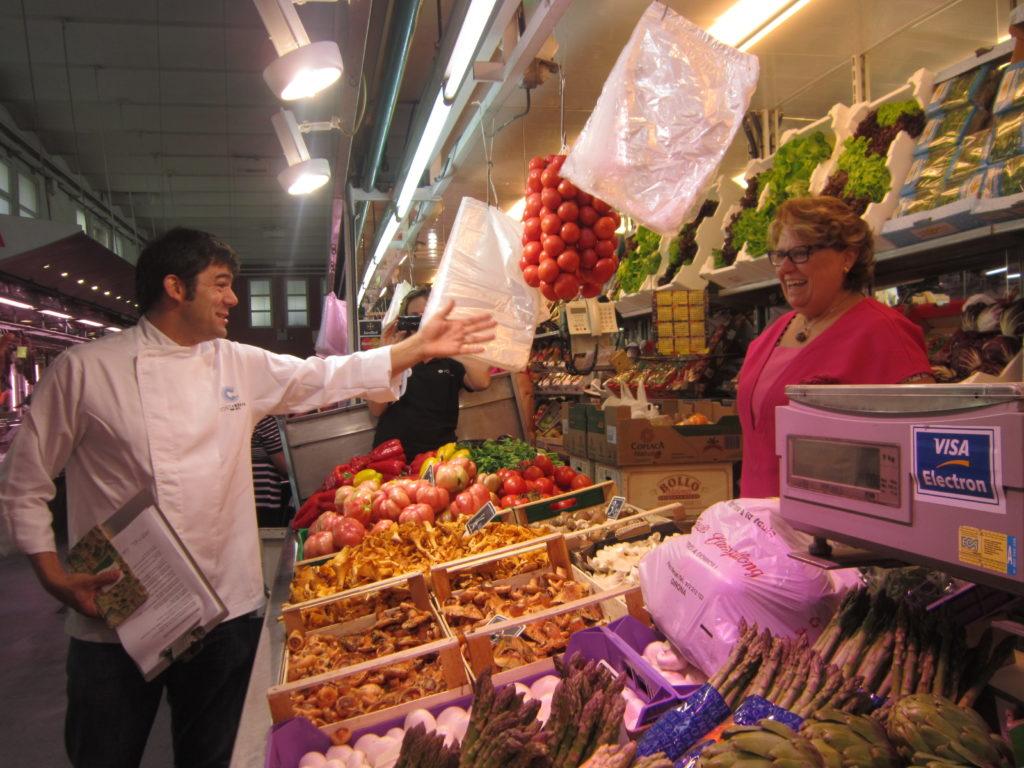 Girona Spain Chef Xavier Arrey in food market