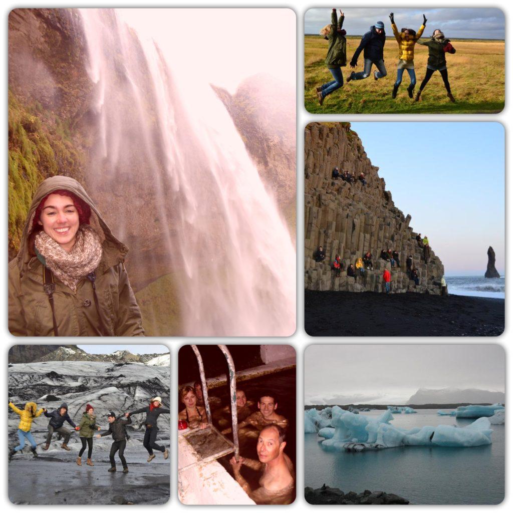 Iceland landscape waterfall glacier black sand beach