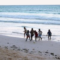 Diani beach Kenya boys football playing
