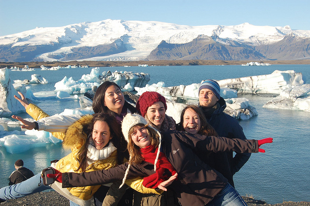 Worldwide Friends volunteers at Jokulsarlon icebergs in Iceland